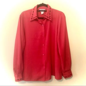 Pendleton Red Buttonup Blouse Black Stitching 16